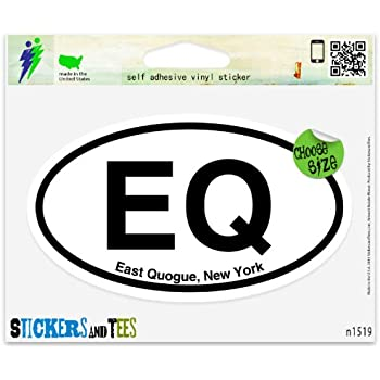 "QGE Quogue New York Oval car window bumper sticker decal 5/"" x 3/"""