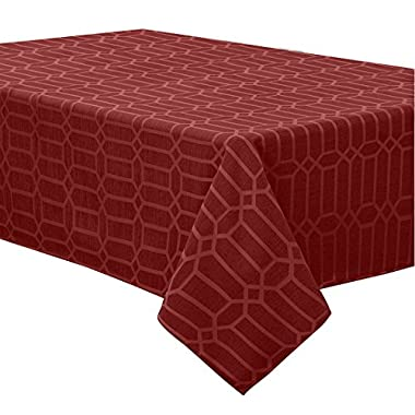 Creative Dining Group Shimmer Fabric Tablecloth, 52 by 70 , Red