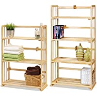 Furinno PiNE Solid Wood 4-Tier & 3-Tier Bookshelves Set, Natural Wood, FNCL-PiNE