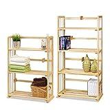 Furinno Pine Solid Wood & Bookshelves Set Natural Wood/4-Tier
