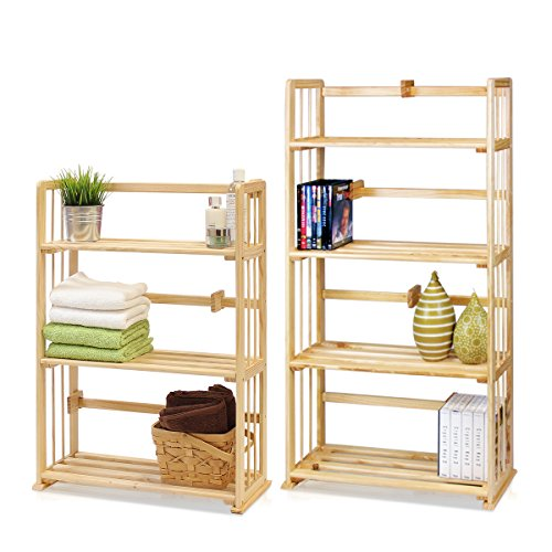 Furinno Pine Solid Wood & Bookshelves Set Natural Wood/4-Tie