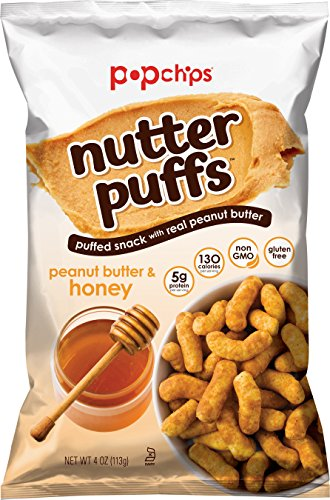 Popchips Nutter Puffs Peanut Butter and Honey 4 oz Bags (Pack of 12)