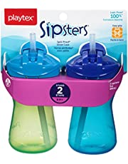 Playtex Baby Sipsters Spill-Proof Straw Sippy Cups, Stage 2 (9 Months+), Pack of 2 Cup (Color May Vary)