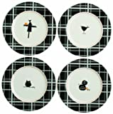 Tag 651193 Halloween Black Plaid Appetizer Plates with assorted designs, Pumpkin, Owl, Scarecrow, and Crow,  Set of 4