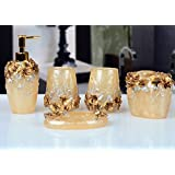 Yiyida Country Style 3D Flowers Resin 5Pcs Bathroom Accessories Set Soap Dispenser/Toothbrush Holder/Tumbler/Soap Dish (Gold)