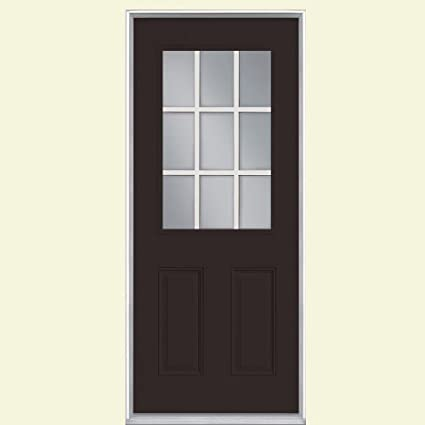 Masonite 9 Lite Painted Smooth Fiberglass Entry Door With No Brickmold