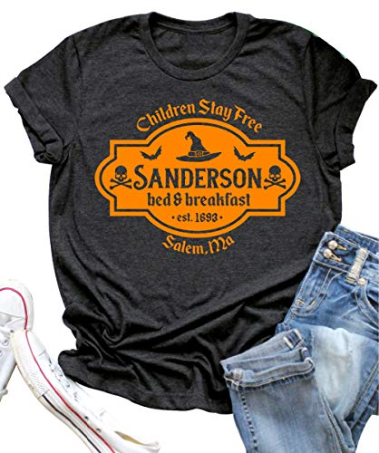 Salem Ma On Halloween (Halloween T Shirt Sanderson Sisters Bed and Breakfast Funny Letter Print Women Short Sleeve Graphic Tees Tops (L,)