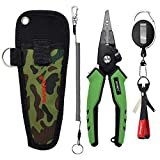 SAMSFX Locking Aluminum Fishing Pliers Saltwater Braid Line Cutting Split Ring Pliers with Coiled Lanyard, Sheath, Quick Knot Tying Tool and Zinger Retractor (Green Rubber Handle)