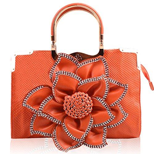 KAXIDY Fleurs avec à Blanc Satchel Sac Orange Strass Cuir Main Bandoulière à PU élégant Sac r0r8fw