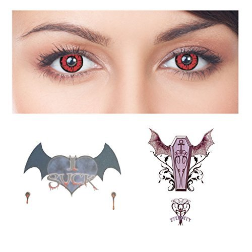 Vampire Style Kit (Red Contact Lenses Halloween)