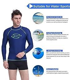 Rash Guard Men, Dive & Sail UV Sun Protection Fast Dry Sunblock Shirt For Kitesurf Snorkeling (S, Blue)