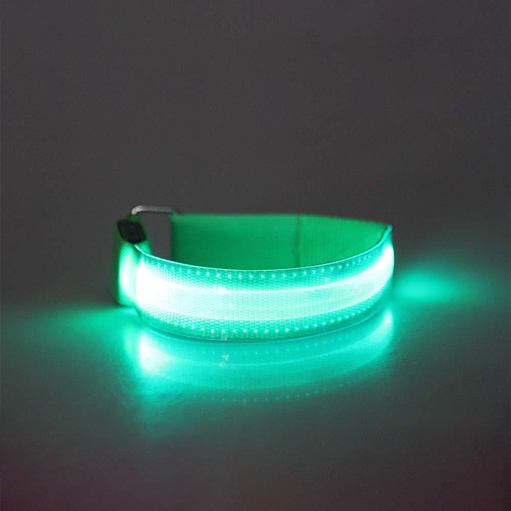 Vpang USB充電式スポーツアームバンド 調節可能な夜光リストバンド LED点滅安全ライト 夜間アウトドアスポーツ用 B07H37D1BK  グリーン