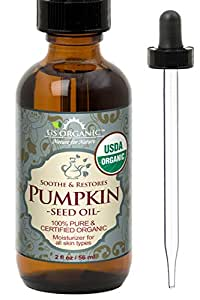 US Organic Pumpkin Seed Oil, USDA Certified Organic,100% Pure & Natural, Cold Pressed Virgin, Unrefined in Amber Glass Bottle w/Glass Eyedropper for Easy Application (2 oz (56 ml))