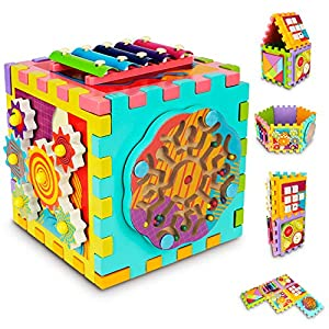 Gamenote Wooden Activity Cube 6 in 1 Baby Toys with Xylophone Shape Sorter Tangram Gears Magnet Maze and Number Game