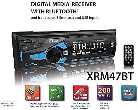 Bluetooth DUAL XRM47BT Single-DIN In-Dash Mechless AM//FM Receiver AUX//USB