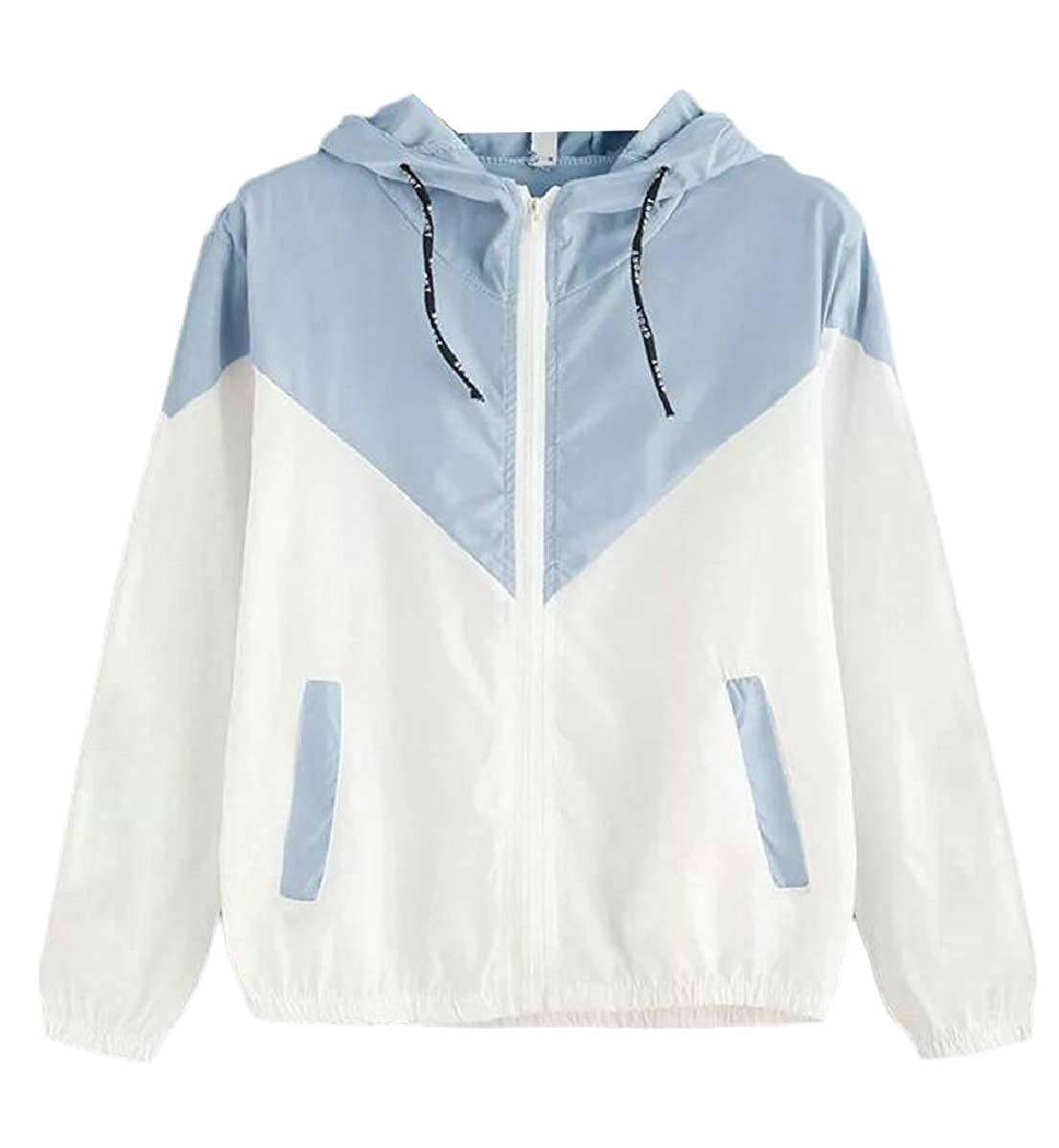 Women's Hooded Collar Wide Waist Two Tone Windbreaker Jacket