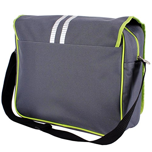 Lonsdale Messenger Bag Charcoal/Lime Sports Flight Tasche Gymbag Kitbag