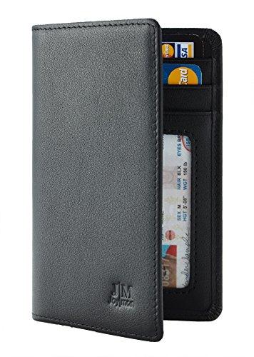Joymon Genuine Leather Slim ID Credit Card Holder Bifold Front Pocket Minimalist Mens Wallet RFID Blocking