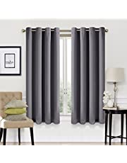 Blackout Curtains 2 Panels Set Room Darkening Drapes Thermal Insulated Solid Grommets Window Treatment Pair for Bedroom, Nursery, Living Room