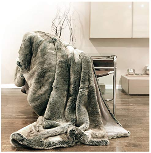 Eikei Luxury Faux Fur Throw Blanket Super Soft Oversized Thick Warm Afghan Reversible to Plush Velvet in Tan Grey Wolf, Cream Mink or Blush Chinchilla, Machine Washable 60 by 70 Inch (Ombre)