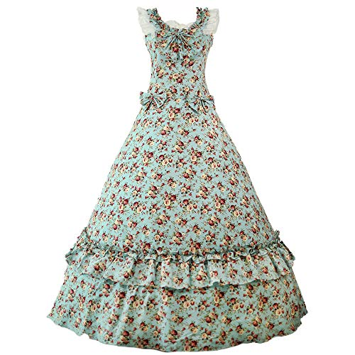 Womens Historical Cospaly Victorian Southern Belle Ball Gown Civil War Costumes Masquerade Party Dress (M, 4 Floral)
