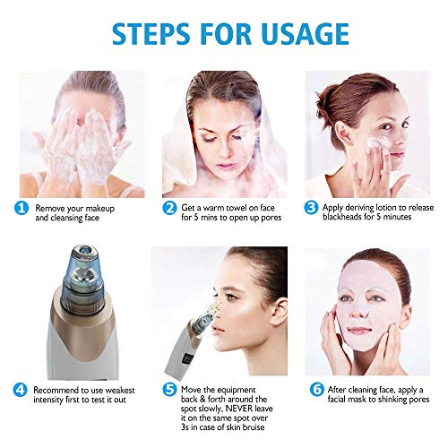 XZYZYW Blackhead remover vacuum suction facial pore cleaner,with free acne needle kit, with 5 replaceable heads and LED screen.