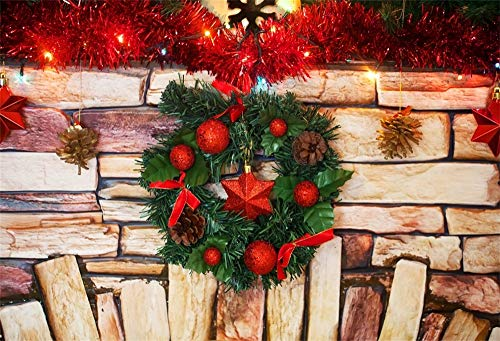 AOFOTO 5x3ft Christmas Wreath Backdrop Birck Wall Fireplace Decorated Pine Cones Bauble Garland Ribbon Photography Background Festival Celebration New Year Family Gathering Photo Booth Prop