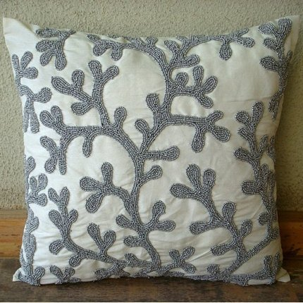 The HomeCentric Designer 24x24 inches Pillow Covers Silver, Beaded Corals Beach and Ocean Theme Pillow Shams, Square Silk Pillow Shams, Mediterranean Pillow Shams - Silver Coral