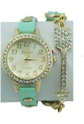 Women's Geneva Mint Green Wrap Watch Crystal Arrow Accent Crystal Bezel