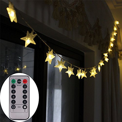 [Remote & Timer] Battery Operated Christmas Star LED String Lights 16 Feet 50 LED Fairy String Lights for Indoor & Outdoor Garden, Wedding Decoration (Warm White) (Star String Lights For Bedroom)