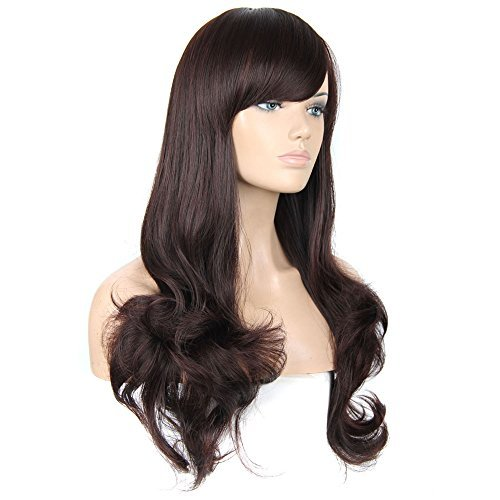 FCL New Wavy Wig Women Long Brown Fluffy Cosplay Wigs by FCL