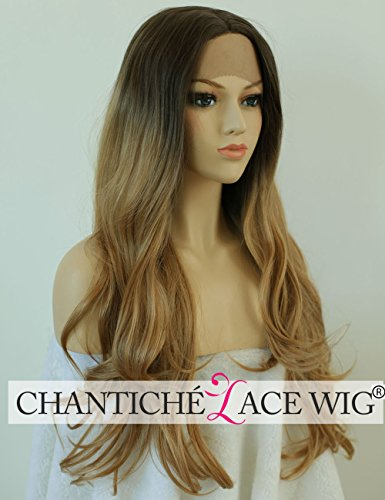 Chantiche Relastic Looking Ombre Blonde/Black Long Wavy Lace Front Wigs Affordable Two Tone Layer Synthetic Hair Halloween Cosplay Wig for Fashion Women Heat Resistant 24inches (Best Lace Wigs)