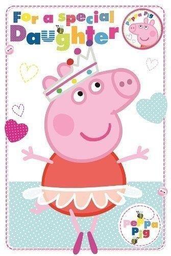 Amazon.com: Peppa Pig hija feliz cumpleaños tarjeta con ...