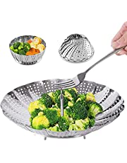 """Steamer Basket Stainless Steel Vegetable Steamer Basket Folding Steamer Insert for Veggie Fish Seafood Cooking, Expandable to Fit Various Size Pot (7.1"""" to 11"""")"""