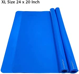 Silicone Baking Mat for Dough Rolling Pastry Fondant Mat Extra Large Nonstick and Nonskid Heat Resistent, Countertop Protector, Dining Table Mat and Placemat 24'' by 20'' (Extra Large Blue 2 Pack)