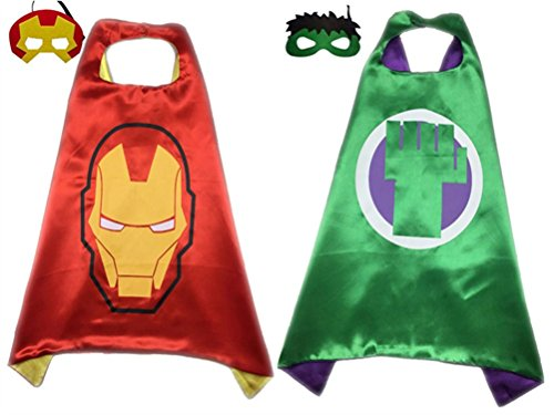 Pack of 2 Superhero Princess CAPE & MASK SET Kids Children's Halloween Costume (Ironman & Hulk) (Tony Stark Halloween Costume)