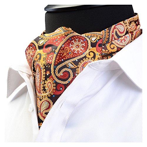 (GUSLESON Men's Cravat Self Tie Paisley Jacquard Woven Floral Luxury Ascot (0602-01))