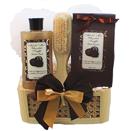 Art of Appreciation Gift Baskets Dipped in Chocolate, Truffle Spa Bath and Body Gift Basket Set