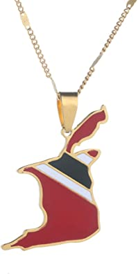 GiftJewelryShop Trinidad and Tobago Flag Retro Style Cross Pendant Charm Necklaces
