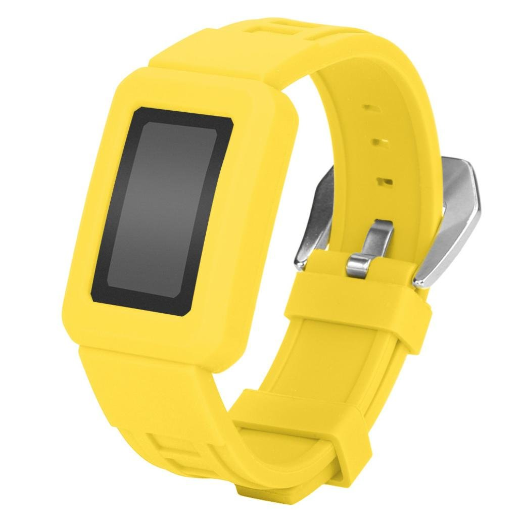 inverleeシリコンスポーツ腕時計バンドストラップベルトwithケースfor Fitbit Charge 2 イエロー イエロー B076FZ828Z