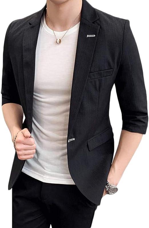 Ptorジャケット メンズ テーラードジャケット 7分袖 サマージャケット スリム ビジネス スーツ カジュアル フォーマル アウター 大きいサイズ 夏