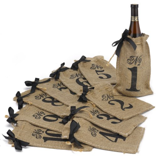 Hortense B. Hewitt Burlap Table Number Wine Bags Wedding Accessories, Set of -