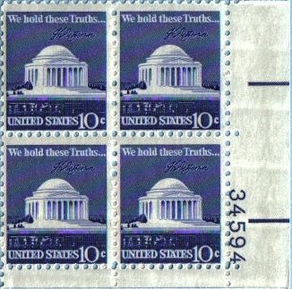 1973 JEFFERSON MEMORIAL #1510 Plate Block of 4 x 10c US Postage Stamps