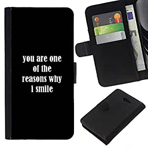 All Phone Most Case / Oferta Especial Cáscara Funda de cuero Monedero Cubierta de proteccion Caso / Wallet Case for Sony Xperia M2 // Reasons Smile You Love Positive Quote Romance