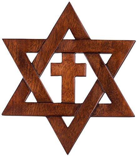 - Mahogany Dark Wood Jewish Star in Cross Wall Plaque in Gift Box