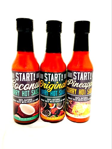 START! Curry Hot Sauce - Variety Sampler Gift Pack - Original, Coconut, and Pineapple Flavors - Vegan + Gluten Free - Everyday Gourmet Light Spice (3 pack)
