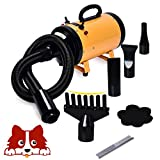 Free Paws 3.2HP 2 Speed Adjustable Heat Temperature Pet Dog Grooming Hair Dryer Blower Professional with 4 Different Nozzles