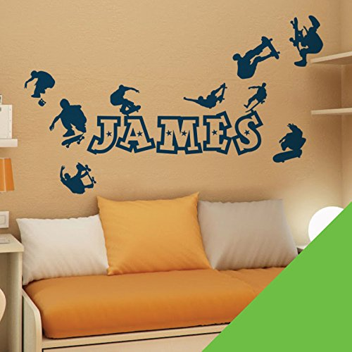 Personalised Name Boys Decal Wall Sticker - Skaters, Skateboard, Park, Skate [Lime]