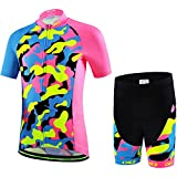 Ateid Children Boys' Girls' Cycling Jersey Set Short Sleeve with 3D Padded Shorts Camouflage Pink 6-7 Years