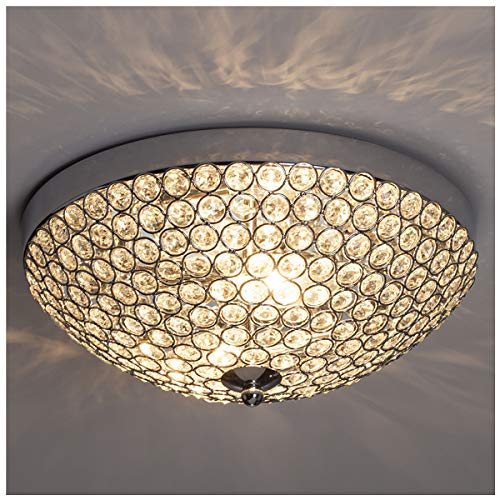 (GLANZHAUS Modern Design 11.8 Inches Small Clear Crystal Beads Bowl Shaped Chrome Finish Base Chandelier Crystal Ceiling Light, Flush Mount Ceiling Light Suitable For Bedroom Living Room Hallway )